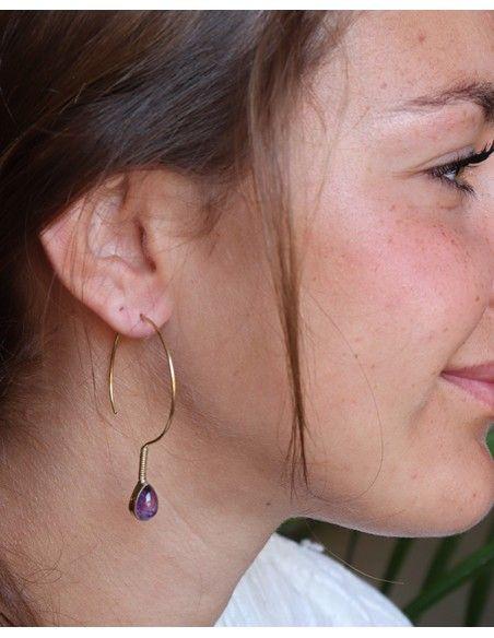 Boucles d'oreilles fines dorées et améthyste - Mosaik bijoux indiens