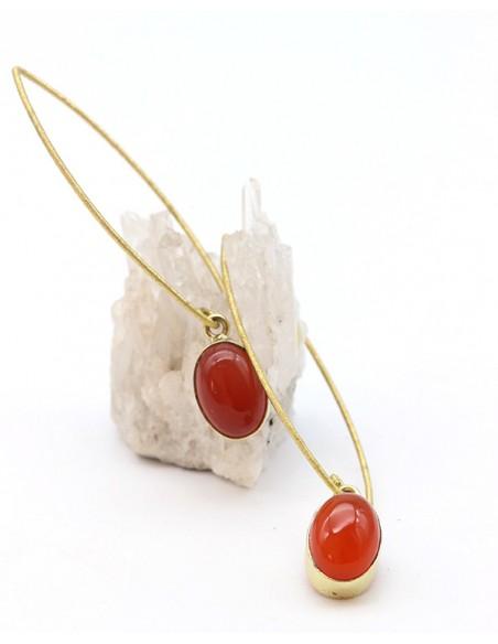 Créoles pendantes laiton et cornaline - Mosaik bijoux indiens