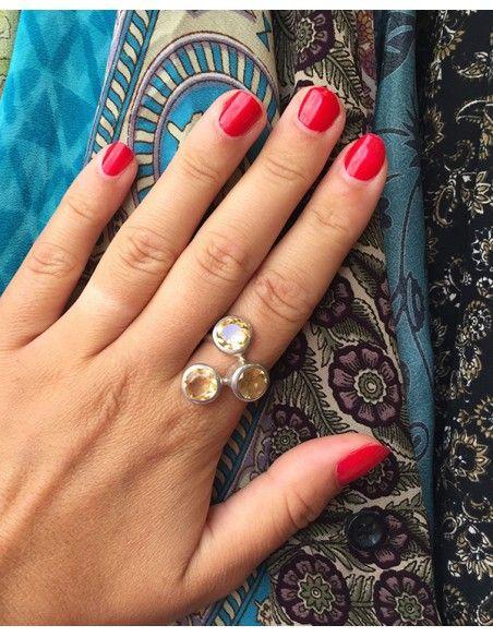 Grosse bague argent et citrine - Mosaik bijoux indiens