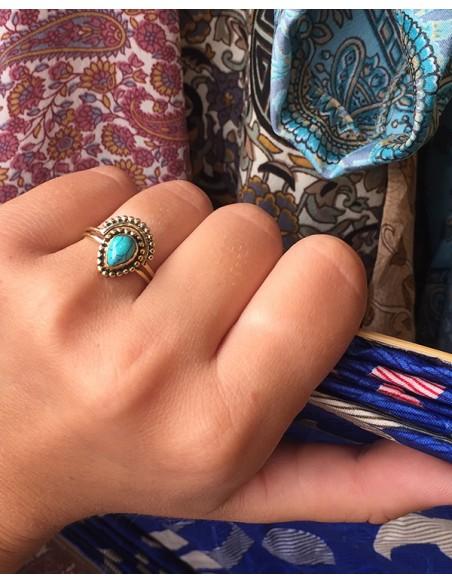 Bague dorée ethnique et turquoise - Mosaik bijoux indiens