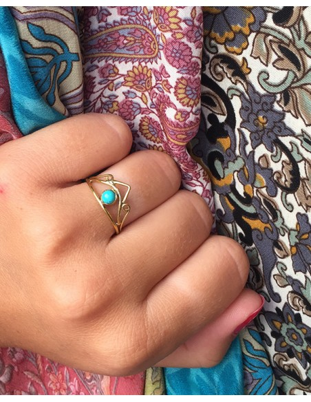 Bague laiton fine et turquoise - Mosaik bijoux indiens