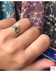 Bague laiton fine et agate verte - Mosaik bijoux indiens 2