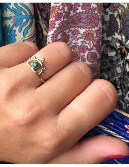 Bague dorée fine et agate verte - Mosaik bijoux indiens