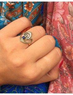 Bague travaillée en laiton et lapis lazuli - Mosaik bijoux indiens 2