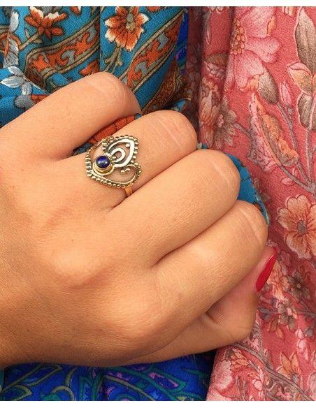 Bague dorée en laiton et lapis lazuli - Mosaik bijoux indiens