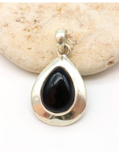 Pendentif argent et onyx noir forme de goutte