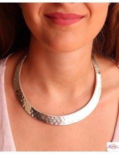 Collier épais argenté martelé rigide - Mosaik bijoux indiens 2