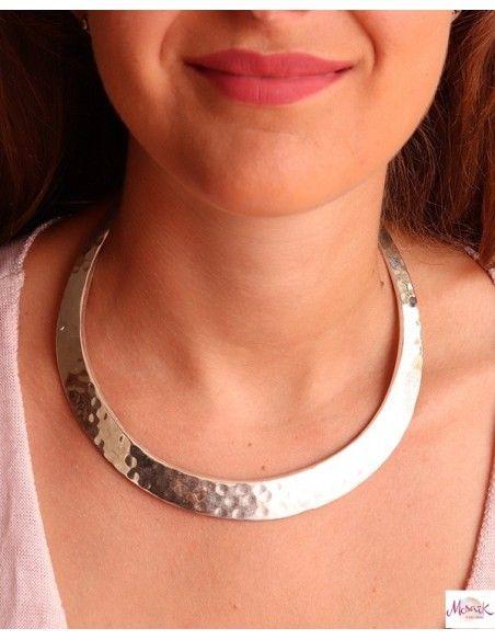Collier ras de cou rigide épais argenté - Mosaik bijoux indiens