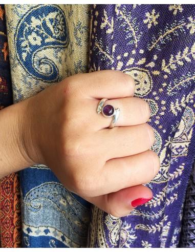 Bague argent et améthyste ronde - Mosaik bijoux indiens