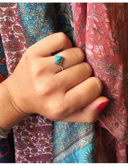 Petite bague turquoise - Mosaik bijoux indiens