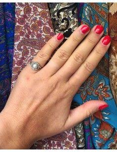 Bague argent et perle ronde - Mosaik bijoux indiens 2