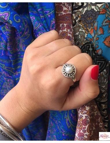 Bague argent perle blanche - Mosaik bijoux indiens