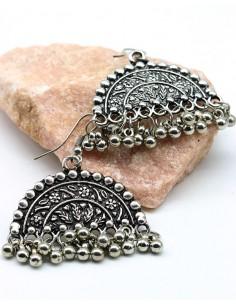 Boucles d'oreilles ethniques motifs et  grelots - Mosaik bijoux indiens