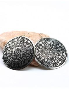 Boucles d'oreilles rondes ethniques - Mosaik bijoux indiens