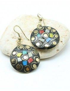 Boucles d'oreilles résine ethniques - Mosaik bijoux indiens