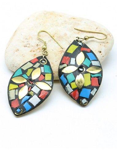 Boucles d'oreilles colorées ethniques - Mosaik bijoux indiens