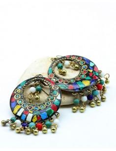 Boucles d'oreilles ethniques colorées en résine - Mosaik bijoux indiens