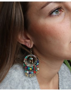 Boucles d'oreilles ethniques colorées en résine - Mosaik bijoux indiens 2