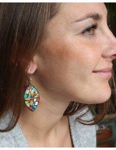 Boucles d'oreilles colorées ethniques - Mosaik bijoux indiens 2