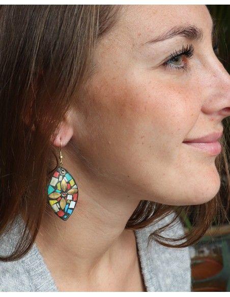 Boucles d'oreilles résine colorées - Mosaik bijoux indiens
