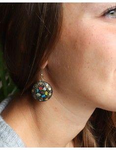 Boucles d'oreilles résine ethniques - Mosaik bijoux indiens 2