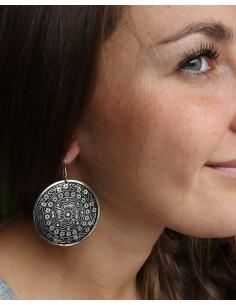 Boucles d'oreilles rondes ethniques - Mosaik bijoux indiens 2