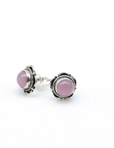 Boucles d'oreilles en argent fleur et Quartz rose