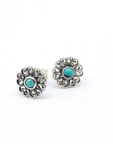 Clous d\u0027oreilles argent fleur et pierre turquoise