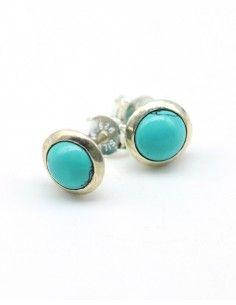 Boucles d'oreilles en argent et Turquoise - Mosaik bijoux indiens