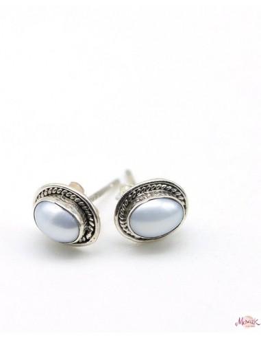 Boucles d'oreilles argent ovales et nacre