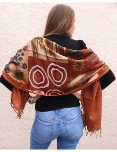 Foulard motifs marron en soie - Mosaik bijoux indiens 2