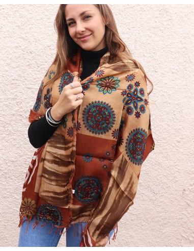 Foulard motifs marron en soie - Mosaik bijoux indiens
