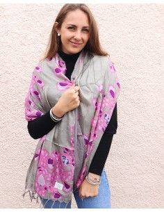Foulard gris et rose à...