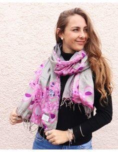 Foulard gris et rose à... 2