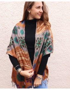 Foulard soie marron et gris - Mosaik bijoux indiens