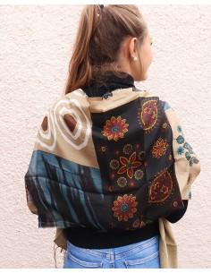 Foulard soie beige - Mosaik bijoux indiens 2
