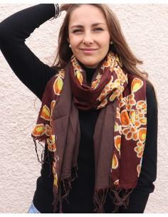 Foulard soie marron - Mosaik bijoux indiens