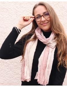 Chèche en coton beige et rose