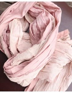 Chèche en coton beige et rose 2