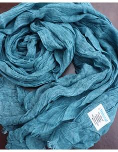 Chèche en lin de couleur bleue 2