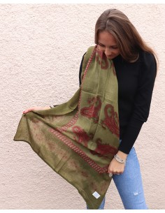 Echarpe kaki en laine - Mosaik bijoux indiens 2