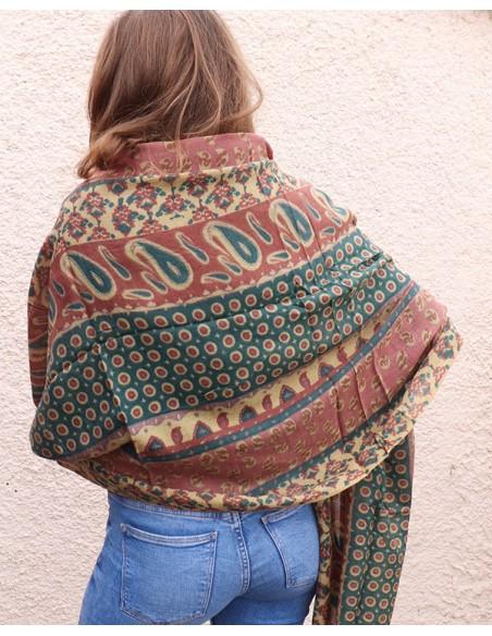 Etole fine en laine colorée - Mosaik bijoux indiens