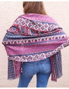 Écharpe laine rose et bleue - Mosaik bijoux indiens 2
