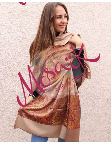 Etole soie orangée - Mosaik bijoux indiens