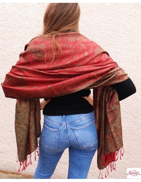 Etole soie rouge et kaki - Mosaik bijoux indiens