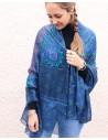 Foulard soie bleu - Mosaik bijoux indiens