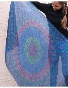 Foulard soie bleu - Mosaik bijoux indiens 2