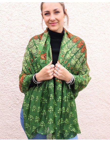 Foulard en soie vert - Mosaik bijoux indiens