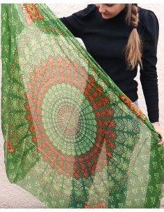 Grand foulard en soie vert... 2