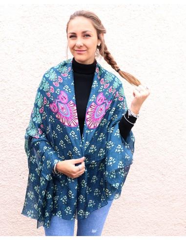 Foulard en soie bleu et rose - Mosaik bijoux indiens